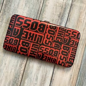 Handbags - Hard Case Wallet : Shiny Red and black